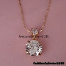New 18K Rose Gold GP Clear White Crystal Solitaire Pendant Necklace IN101A