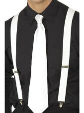 20's 1920s Gangster Braces Capone Fancy Dress Adjustable White New by Smiffys.