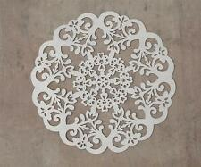 """Large 23-1/2"""" Round Gray Scrolled Wood Medallion~Wall Hanging or Craft"""