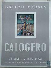 CALOGERO ANCIENNE AFFICHE 1954 GALERIE MADSEN LES PRESSES ARTISTIQUES