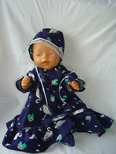 "Handmade Swan Dress, Bonnet & Booties. Baby Born Baby Annabell 16"" / 18"" Doll"