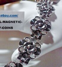 SILVER LACEY SWIRLY FLOWERS MAGNETIC THERAPY BRACELET WOMEN PRO HEALTH