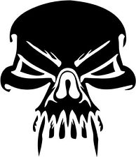 "Vampire Skull Decal Sticker Car Truck Window- 6"" Tall White Color"