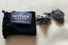 The Witcher 3 sauvage chasse médaillon officiel + collier chaîne wolf head original!