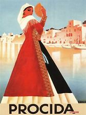 TRAVEL TOURISM PROCIDA GRAZIELLA ITALY HARBOUR BOAT FAN POSTER ART PRINT BB2863A