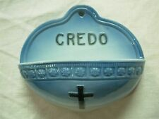 "ANTIQUE GERMAN PORCELAIN ""CREDO"" HOLY WATER FONT WITH CROSS & FLOWERS"