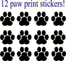 12 Paw Print Decals, Sticker, Car, Truck, Window, lap top, Bumper, cat dog