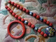 RED CARVED CINNABAR AND  BLUE CLOISONNE BEAD NECKLACE  AND BRACELET FROM CHINA