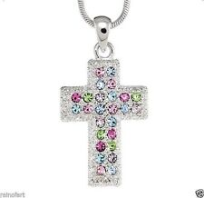 "Cross W Swarovski Crystal God Jesus Christ Lord Multi Color 18"" Chain Necklace"
