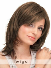 100% Real Hair! New Light Brown Medium Natural Straight Wig Human Hair 02