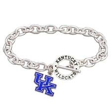 Kentucky Wildcats Team Name Silver Toggle Blue Enamel Charm Bracelet Jewelry UK