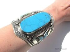 Huge Tribal Ethnic Faux Turquoise Chunky CUFF Bracelet