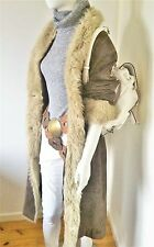 Ladies Vintage BoHo Hippy Long Leather Suede Coat with Faux Fur Trim Size L