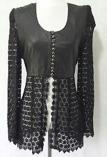 Echtes Leder S 2 black real leather pencil skirt lace jacket shirt UNIQUE sexy