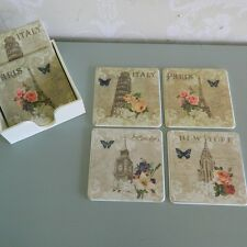 Set of Six Coasters French Style Shabby Kitchen Dining Vintage Chic Accessory