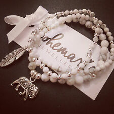 White howlite elephant charm bracelet stack of 3 gemstone bijoux jewellery boho