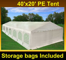 PE Party Tent 40'x20' - Heavy Duty Party Wedding Outdoor Shelter Carport - White