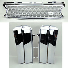 Range Rover 06-09 Mesh Chrome Sil Front Bumper Hood Grill w/ Side Fender Vents