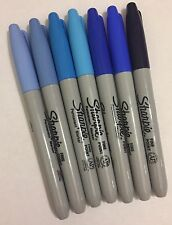 Genuine Sharpie Permanent Fine Marker Pens Blues New Loose 7 Pens Shades