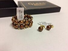 job lot  10 sets giani chocolate Pearl RING /  Earrings sets new & boxed