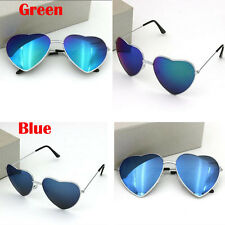 Beauty Women Men Metal Color Film Reflective Love Heart Sunglasses Glasses Blue
