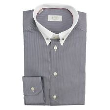 Eton Navy/White Striped, White Collar, Slim Fit Shirt. Size: 16/41 - RRP: £130