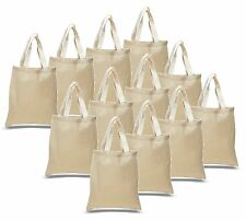 18- NATURAL COTTON TOTE BAGS! Blank Cotton Books School Shopping Bags