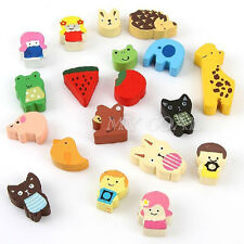 19x Wooden Cartoon Animal Sticker Refrigerator Fridge Magnet Kid Educational Toy