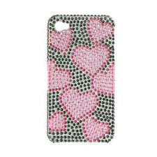 Blk Pink Hearts Bling Case Back Cover Apple iPhone 4 4G