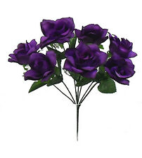 84 OPEN ROSES ~ REGENCY PURPLE ~ Soft Touch Silk Wedding Flowers Bouquets Bridal