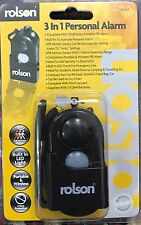 Rolson 3 in 1 personal alarm panic rape attack safety with led and motion sensor