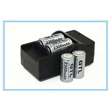 4x 2300mAh CR123A 16340 Rechargeable Li-ion Battery For LED Flashlight+Charger