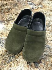Dansko Olive Green Suede Leather Clogs size 40 (equivalent size 9.5)