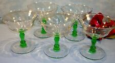 Set of 5 Green Stem Depression Glass Champagne Glasses