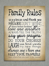 Metal sign Retro Shabby chic Family rules decorative Tin wall plaque gift