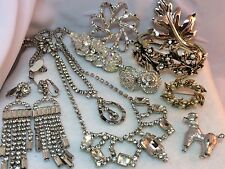Vintage Jewelry for Repair/Parts, UpCycling, Arts/Crafts,Clear Rhinestones