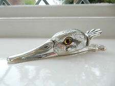 Silver Plate Letter Clip in Shape of Duck with Glass Eyes