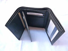 Genuine Leather Tri Fold Money Wallet Purse for Men Gents with Card Slots -Black