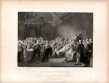 Stampa antica PARLAMENTO INGLESE la morte del Conte di Chatham 1840 Old print