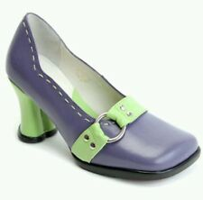 JOHN FLUEVOG CHOICE: VANNY US 9.5 HEART HEEL LEATHER PIN UP PUMPS SHOES * PURPLE