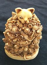 Excellent Vintage Harmony Kingdom Too Much Of A Good Thing Cat Rats Mice Box