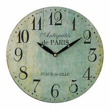 Vintage Rustic Shabby Chic Distressed Round Light Home Kitchen Wall Clock - Grea