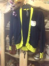 HELLO KITTY FOREVER 21 BLACK LIME GREEN YELLOW CARDIGAN SIZE Small
