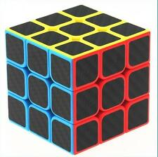 Puzzle Cube 3x3 Carbon Fiber Sticker Rubik's Cube Speed Smooth Magic Cube Black