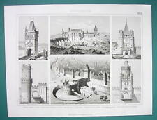 ARCHITECTURE City Gates Prague Cracow Basel Hungary - 1870s Superb Print