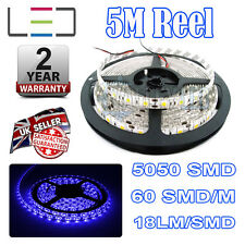 5M 24V LED BLU STRISCIA LUMINOSA IP65 5050 300SMD 16Lm / SMD 60SMD / M Bright Impermeabile