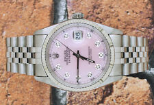 Gents PINK MOP Diamond Dial Steel & 18ct Gold Rolex Oyster Perpetual Datejust.