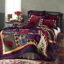 Queen Size Cozy Velvet Fleece and Satin Quilt Plum Burgundy Gold Navy & Sage
