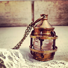 Vintage Style Lantern Pendant Charm Necklace Antique Brass Bronze Nautical
