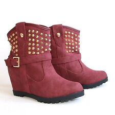 Stiefeletten 40 Rot Versteckter Keilabsatz Nieten Damen Boots Stiefel H197-